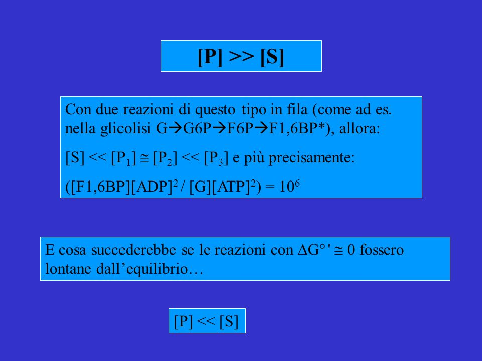 [P] >> [S] Con due reazioni di questo tipo in fila (come ad es. nella glicolisi GG6PF6PF1,6BP*), allora: